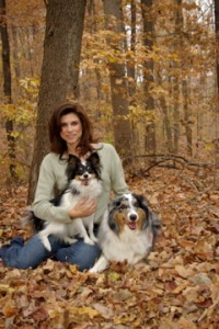 Amy with Artie the Papillon and Bogie the Australian Shepherd